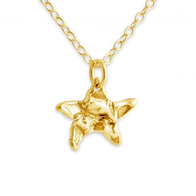 Gold plated necklace Hammered Star