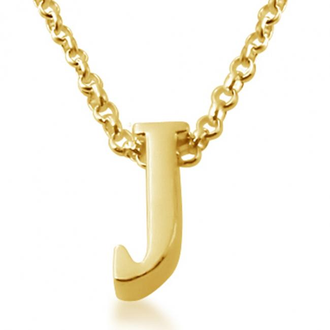 Gold plated necklace Initial Letter J Personalized Symbols & Letters Serif Font