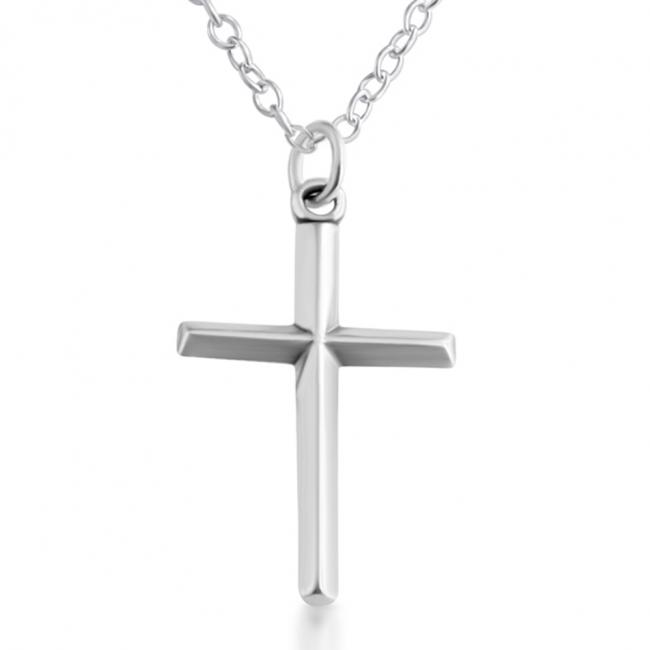 925 sterling silver necklace Simple Beveled Christian Cross