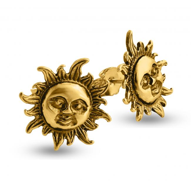 Gold plated earrings Smiling Sun Flare