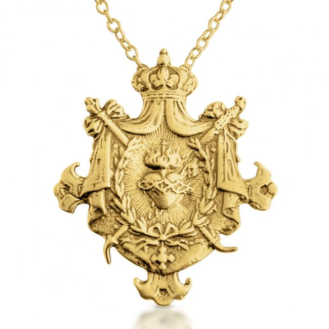Gold plated necklace Sacred Heart of Jesus Shield Royal Religious Warrior