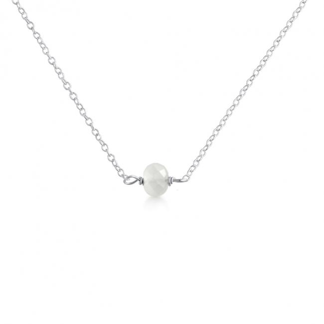 925 sterling silver necklace White Gem Stone Pendant