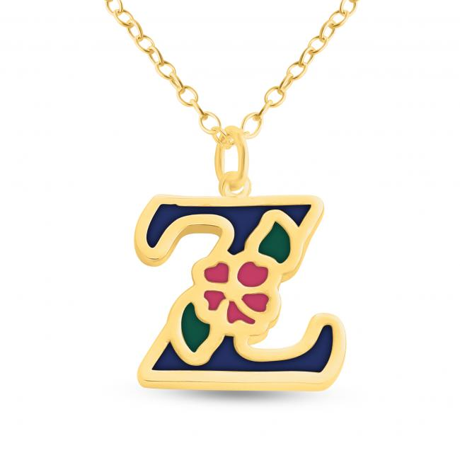 Gold plated necklace Colored Initial Letter Z with Flower