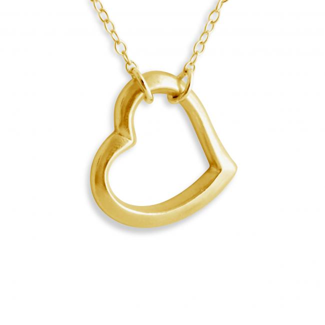 Gold plated necklace Large Open Heart