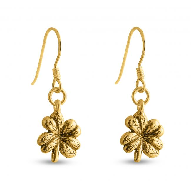 Gold plated earrings Four-Leaf Clover