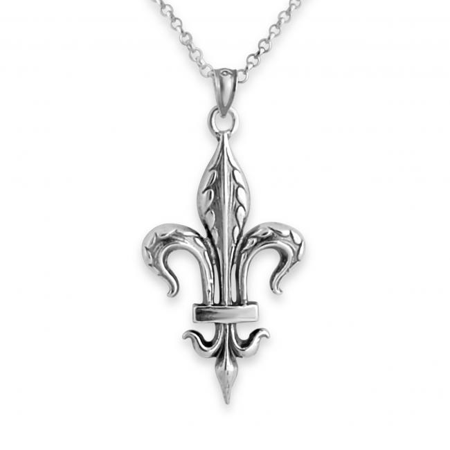 925 sterling silver necklace Large Fleur de Lis
