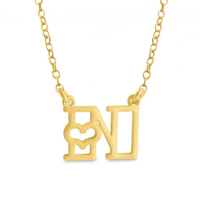 Gold plated necklace Initial Letter N with Heart Sideways