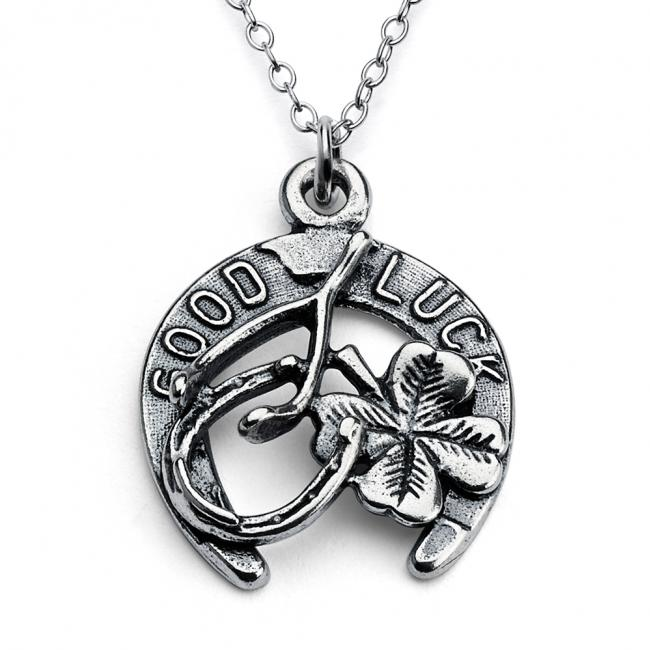925 sterling silver necklace Good Luck Horseshoe Four Leaf Clover Wishbone