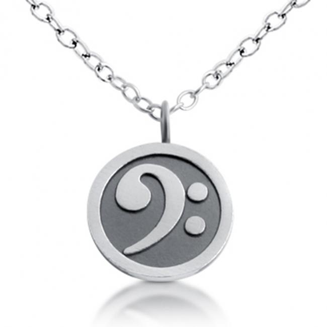 925 sterling silver necklace Bass Clef