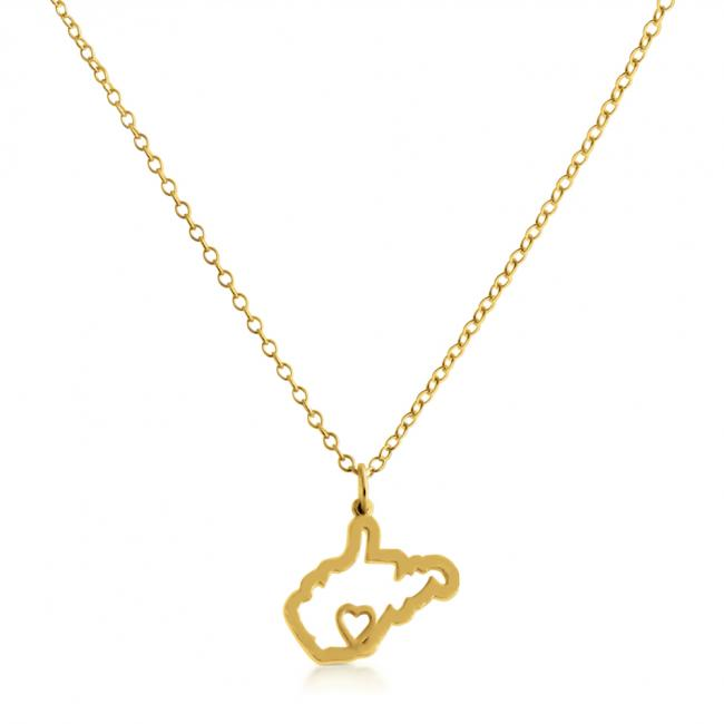 Gold plated necklace West Virginia Home is Where The Heart Is State Necklace