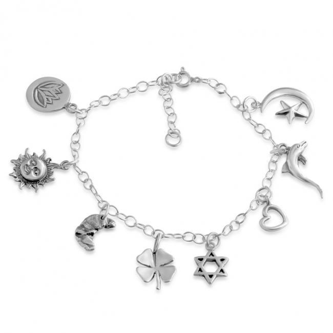 925 sterling silver bracelet Spirituality Multi Charm