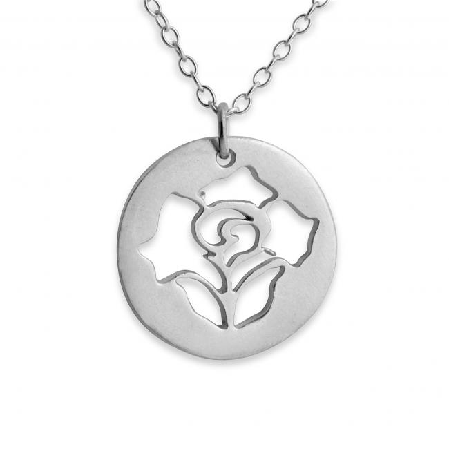 925 sterling silver necklace Rose Stencil