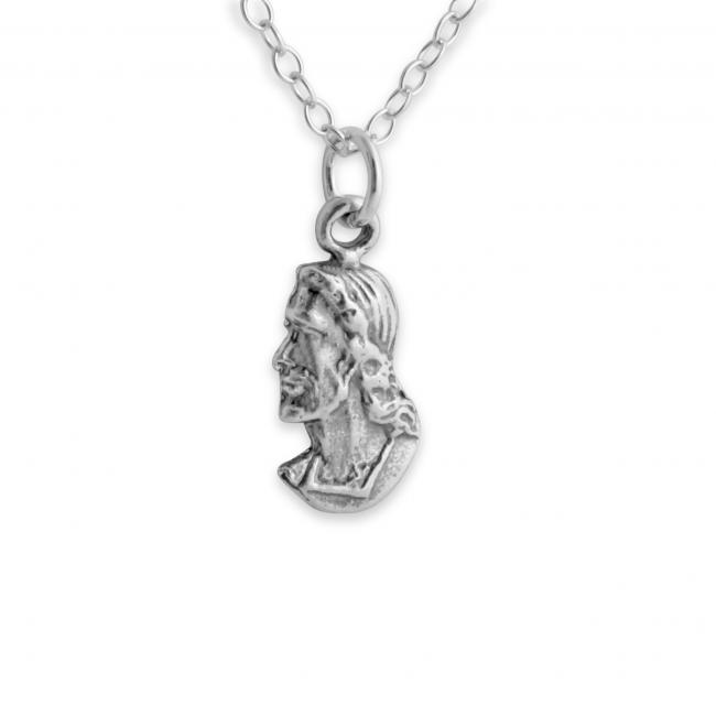 925 sterling silver necklace Profile of Jesus Christ Head Face Religious