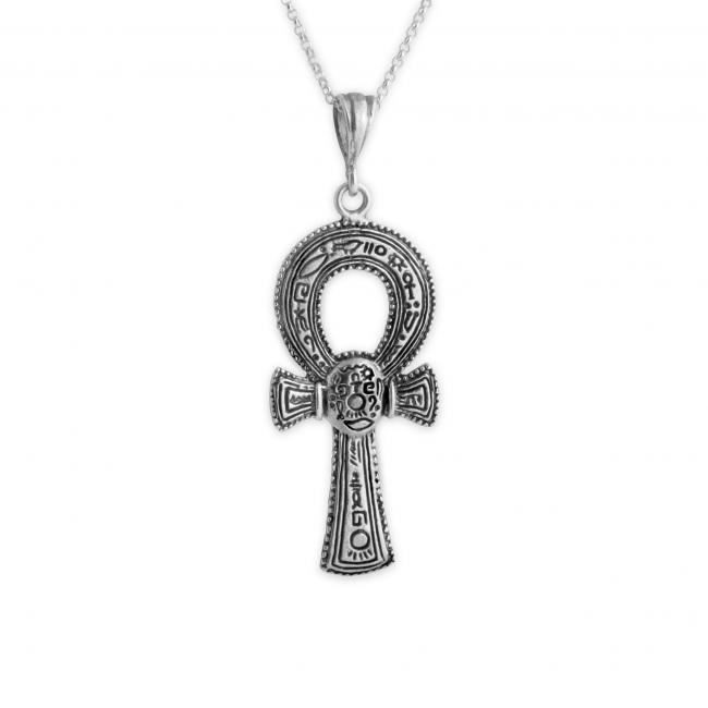 925 sterling silver necklace Large Engraved Egyptian Ankh Ancient Cross Religious