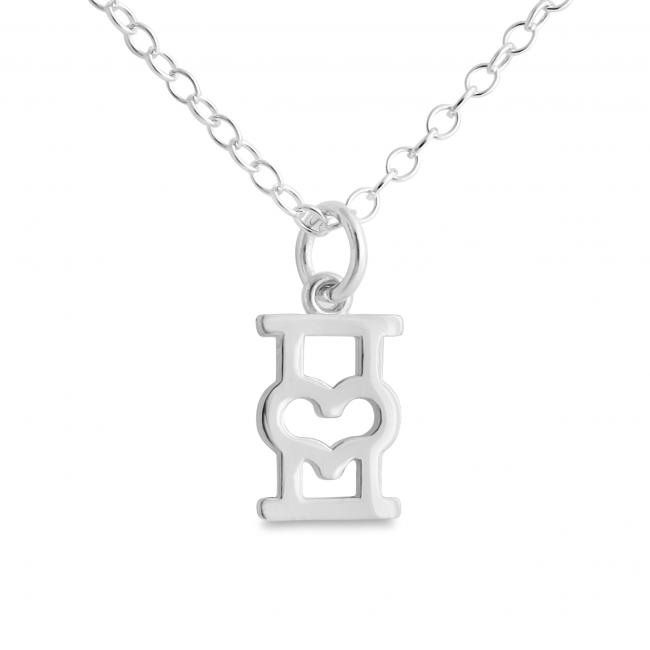 925 sterling silver necklace Initial Letter I with Heart