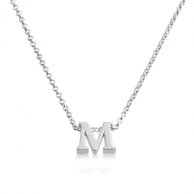 925 sterling silver necklace Initial Letter M Personalized Symbols & Letters Serif Font