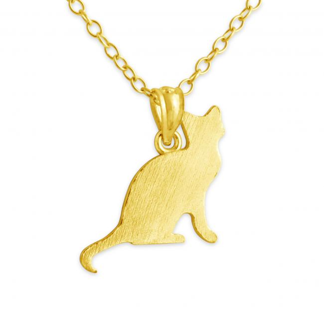 Gold plated necklace Sitting Cat (Silhouette)