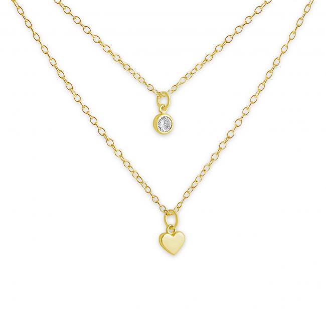 Gold plated necklace Heart and CZ w/ Double Chain