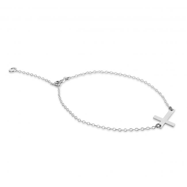 925 sterling silver bracelet Simple Sideways Cross Religious