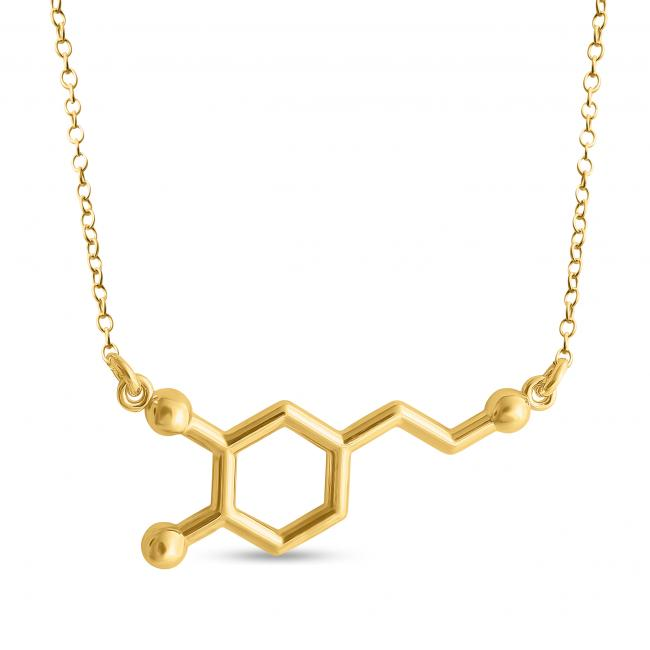 Gold plated necklace Dopamine Molecule Pleasure Hormone Chemical Structure