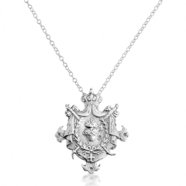 925 sterling silver necklace Sacred Heart of Jesus Shield Royal Religious Warrior