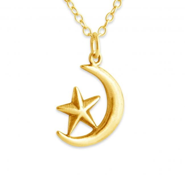 Gold plated necklace Cresent Moon + Star