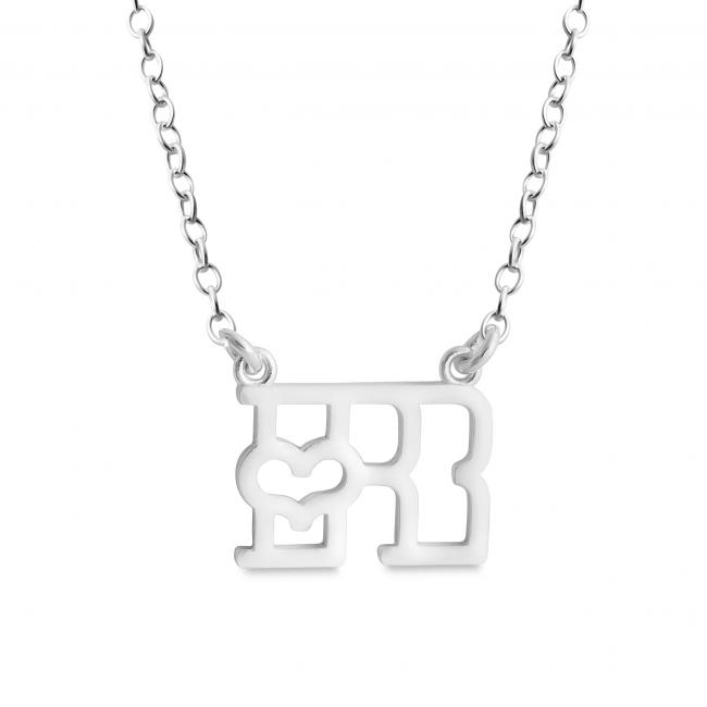 925 sterling silver necklace Initial Letter R with Heart Sideways