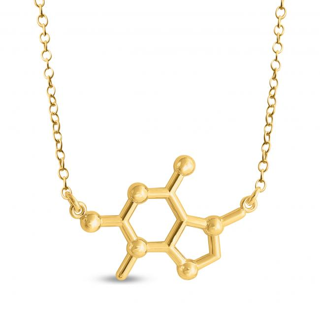 Gold plated necklace Theobromine Chocolate Molecule Chemical Structure