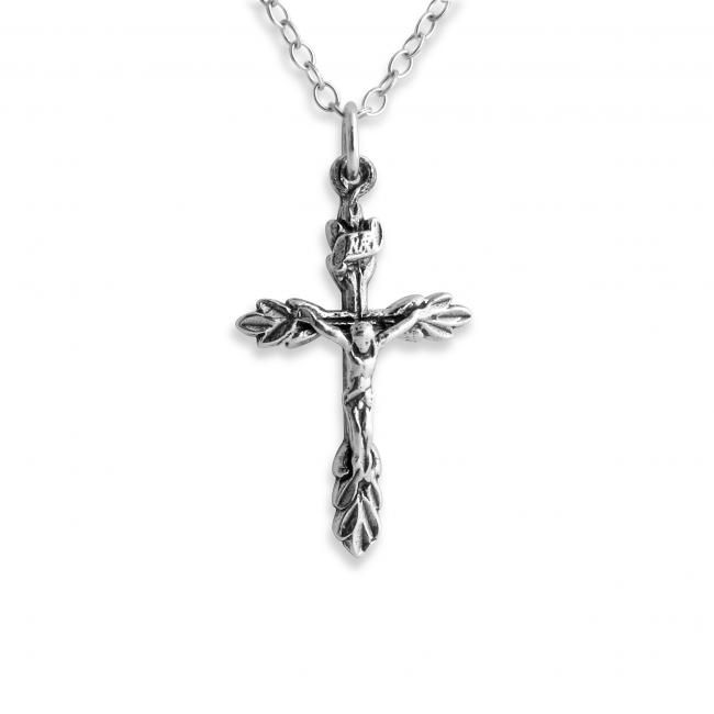 925 sterling silver necklace Crucifix w/ Leaves