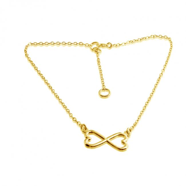 Gold plated anklet Infinity Twin Hearts Love Charm Pendant