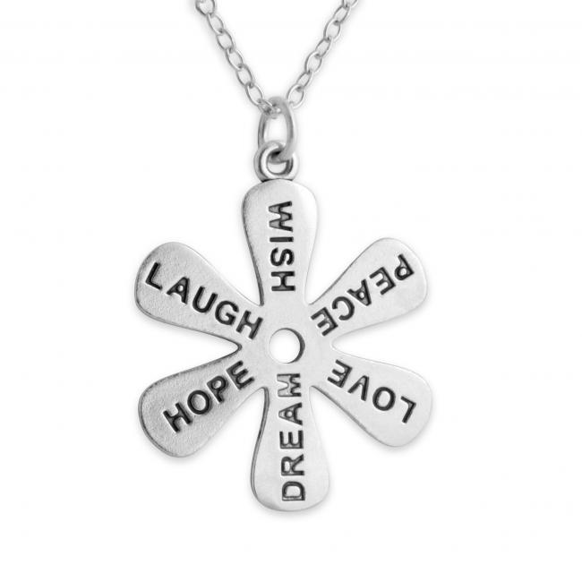 925 sterling silver necklace Flower - Message