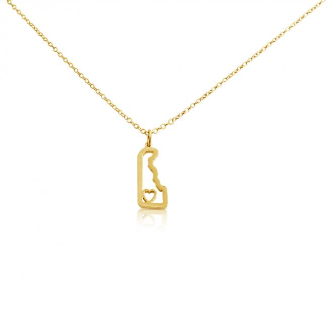 Gold plated necklace Delaware Home is Where The Heart Is State Necklace