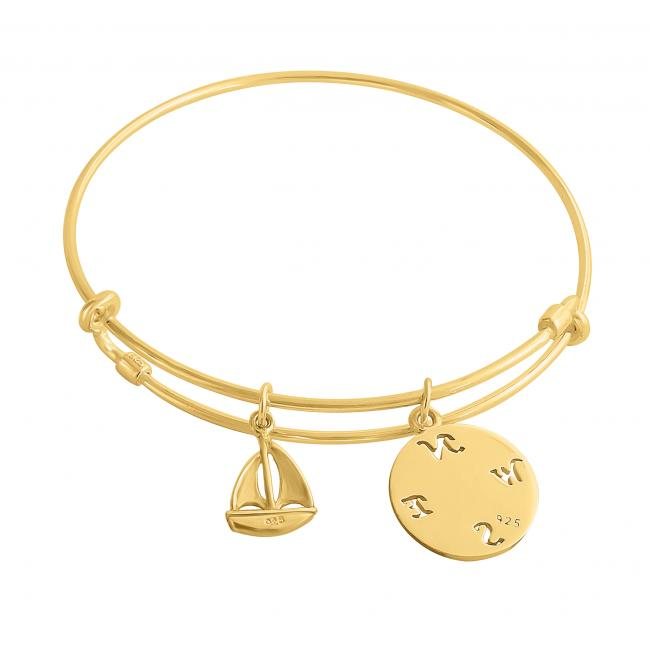 Gold plated bracelet Adventurous Spirit Adjustable Wire Bangle