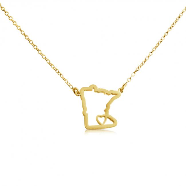 Gold plated necklace Minnesota Home is Where The Heart Is State Necklace