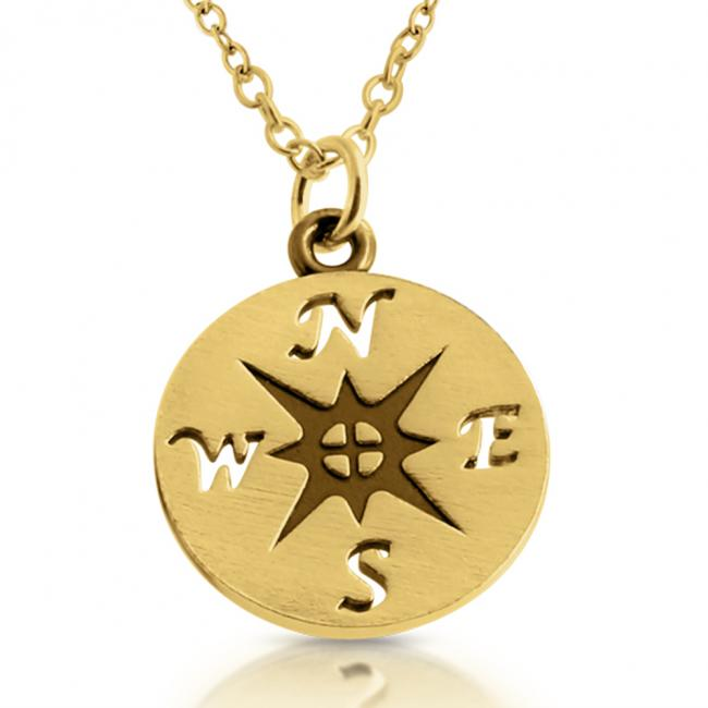 Gold plated necklace Nautical Compass