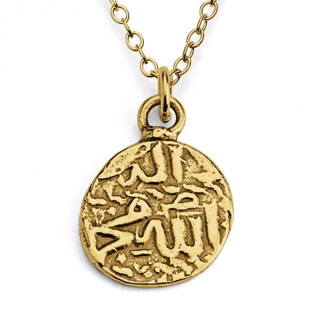 Gold plated necklace Replica Ancient Symbols Tribal Primitive Disc Double Sided