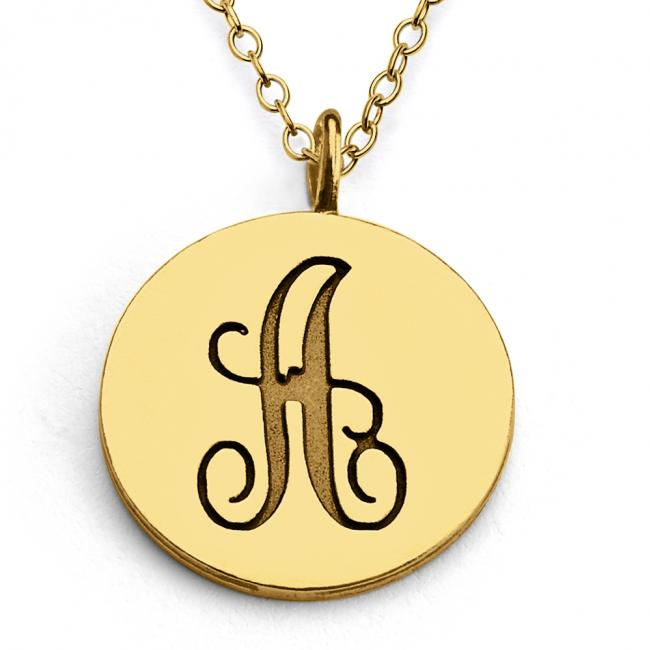 Gold plated necklace A Script Letters