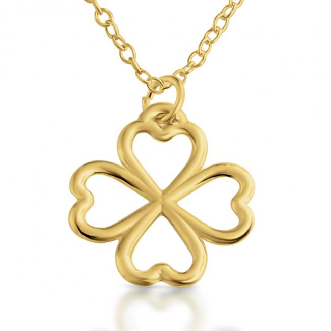 Gold plated necklace Valentines Array of Four Hearts Leaf Clover Lucky in Love
