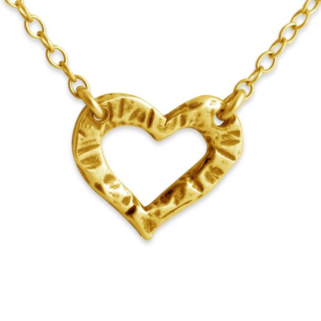 Gold plated necklace Hammered Heart Jump Ring Necklace