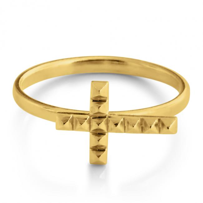 Gold plated ring Pyramid Textured Cross