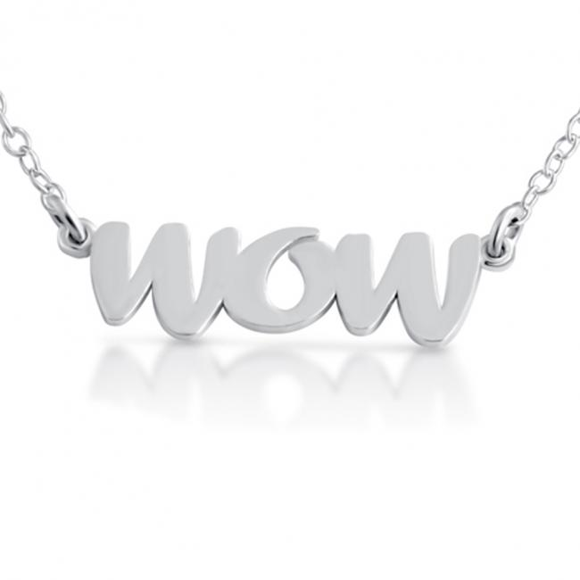 925 sterling silver necklace WOW (Script Word)